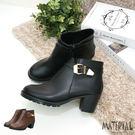短靴 圓頭側扣帶金屬飾短靴 MA女鞋 T...