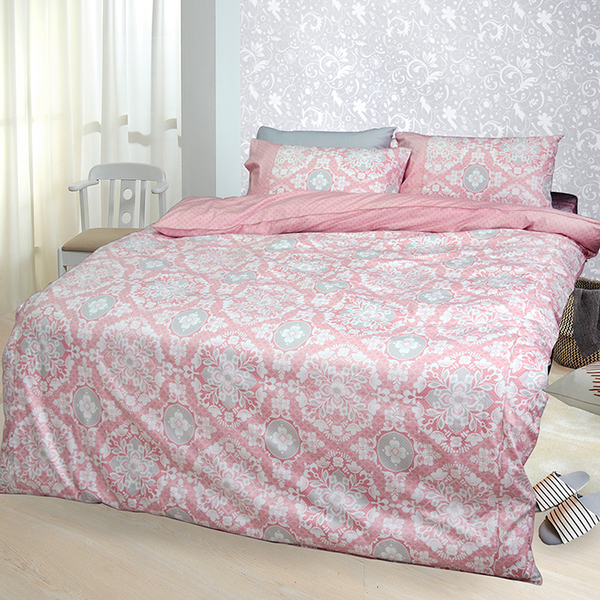 【FITNESS】精梳棉單人三件式被套床包組-尊爵貴族(粉)_TRP多利寶