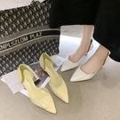 低跟鞋 少女小清新高跟鞋尖頭細低跟年新款天中空百搭溫柔單鞋