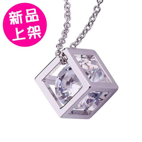 魔方立體項鍊 八心八箭水晶鑽石小方塊項鍊