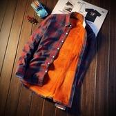 長袖襯衫-格紋冬季加絨保暖經典男上衣4色73po17【巴黎精品】