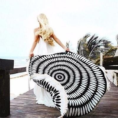 防曬披肩-流蘇百搭簡約時尚多用途戶外沙灘巾73mu25【時尚巴黎】