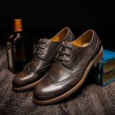 短靴真皮-巴洛克雕花復古做舊商務時尚男靴子2色73kk106[巴黎精品]