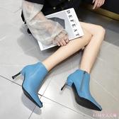 細跟時裝靴2019新款時尚燙鉆女靴尖頭性感高跟短靴女 XN7921【Rose中大尺碼】