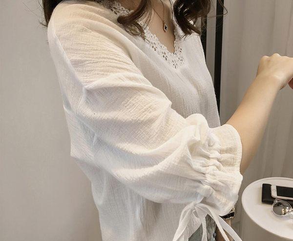 棉麻上衣 韓版學院風寬鬆綁帶七分袖襯衫 花漾小姐【現貨】