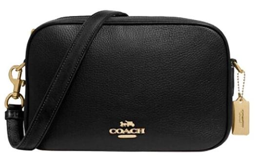 COACH JES系列雙層大容量寬肩帶盒子包單肩斜挎包黑色