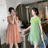 網紗連身裙女2020夏季網紅新款小清新中長裙子寬鬆短袖娃娃仙女裙 童趣屋