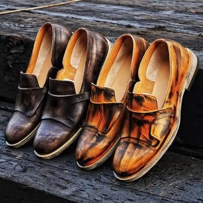 短靴真皮-套腳英倫時尚復古做舊擦色男靴子2色73kk98【巴黎精品】