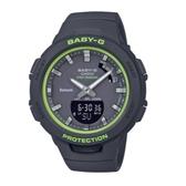 Baby-G CASIO卡西歐 藍牙連線 智慧錶 雙顯錶 運動錶 電子錶 女錶 黑色 BSA-B100SC-1A
