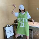 球衣 針織背心女外穿韓版寬鬆bf風籃球服兩件套無袖上衣潮運動休閒 麗人印象 免運