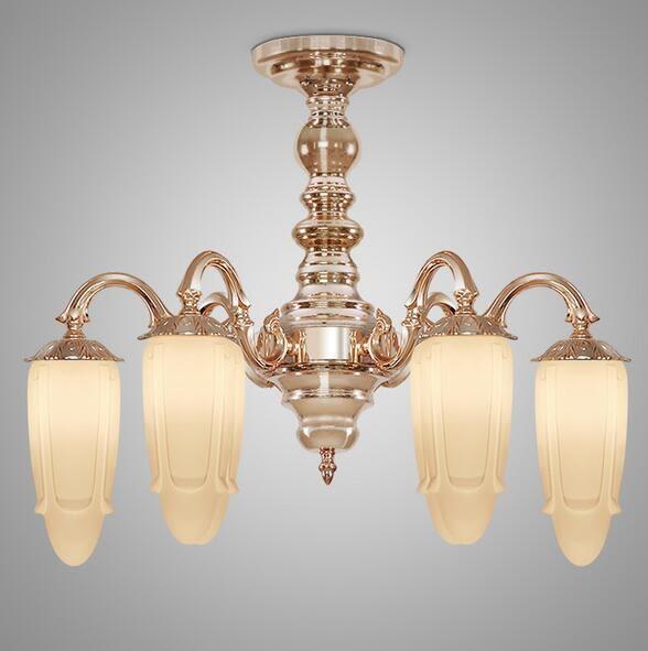 美術燈  歐式奢華銅燈創意客廳餐廳臥室別墅玫瑰金奶油吸頂燈  -不含光源
