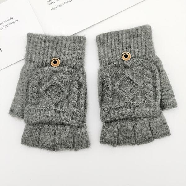 特賣促銷 盛琦手套半指翻蓋男士冬季學生露指毛線寫字冬天韓版針織加厚保暖