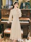 法式復古早秋新款長袖氣質設計感溫柔初戀洋裝女小眾修身顯瘦仙