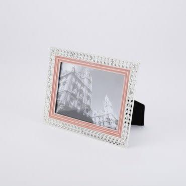珍羽金屬相框 粉紅葉緣 3X5
