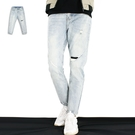 長褲-九分單膝補釘牛仔褲-刷破補丁搭款《99901185》淺藍色『RFD』