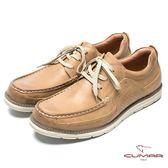 CUMAR 陽光型男 時尚馬克縫線休閒鞋-土黃色
