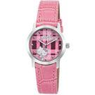 【HELLO KITTY】凱蒂貓繽紛格紋造型手錶 (粉紅 LK683LWPP)