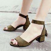 涼鞋女新款夏季中跟流蘇鞋百搭粗跟后拉鏈女鞋露趾羅馬高跟鞋 薔薇時尚