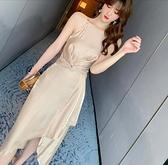 禮服 性感不規則掛脖極簡禮服裙子女氣質閃光絲綢緞面吊帶個性洋裝夏