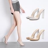 高跟涼鞋 高跟鞋 夏季外穿拖鞋歐美性感透明露趾鞋粗女鞋韓版女鞋子【多多鞋包店】ds4007