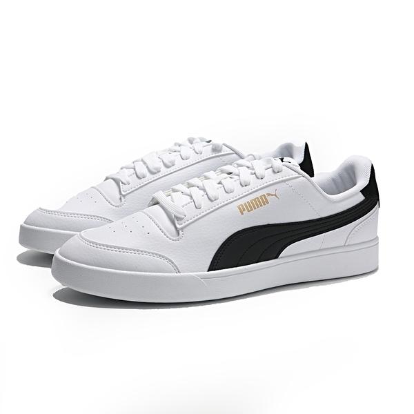 PUMA 休閒鞋 SHUFFLE 白 皮革 後跟黑 麂皮 金LOGO 情侶 男女(布魯克林) 30966803