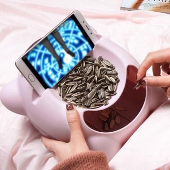 飛天熊雙層可置物乾果盤 懶人 手機座 瓜子盤 嗑瓜子神器 乾果盒 收納盤【N438】米菈生活館