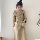 初秋裝2019年新款法式復古修身收腰顯瘦長袖裙子v領氣質洋裝女 韓慕精品