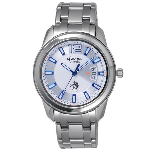 LICORNE entree 日之轉換點日期腕錶-藍