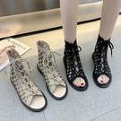 歐美風綁帶涼靴女2021年春夏新款百搭學生韓版網紅平底羅馬涼鞋女 快速出貨