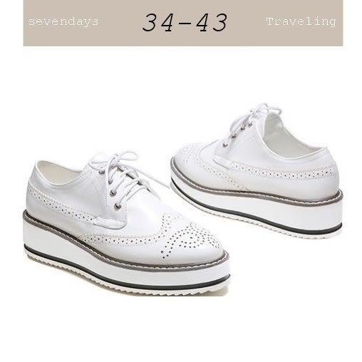 大尺碼女鞋小尺碼女鞋漆皮雕花松糕鞋樂福鞋厚底鞋休閒鞋牛津鞋白色(34-43)現貨#七日旅行