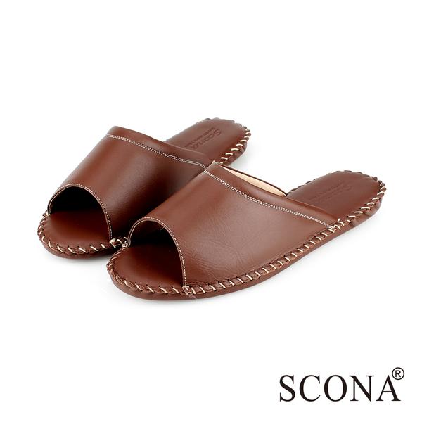 SCONA 全真皮 手縫舒適室內鞋 深咖啡色 (男) 9999-4