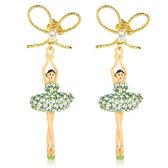 Les Nereides 優雅芭蕾舞女孩系列 優雅蝴蝶結淺綠色鑽女孩耳環  來自法國 平輸【美麗購】