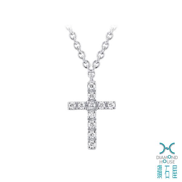【鑽石屋】十字白K金鑲鑽項鍊