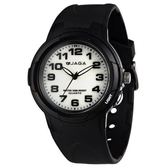 JAGA 捷卡 指針錶 白面 黑色橡膠 38mm 學生錶/大錶/童錶 清楚時間判讀 AQ68A-A