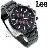 Lee 三眼計時碼錶多功能 IP黑電鍍不銹鋼 男錶 LES-M07DBDB-14 不銹鋼錶帶 三眼錶