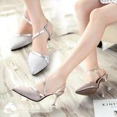 高跟涼鞋 銀色一字扣帶中跟2017新款韓版尖頭鞋百搭細跟包頭高跟鞋 潮流小鋪