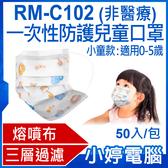 【3期零利率】預購 RM-C102一次性防護兒童口罩 小童款 50入/包 3層過濾 熔噴布 卡通動物