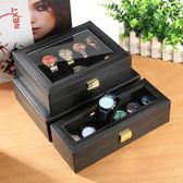 歐式手錶收納盒皮革展示箱帶天窗首飾手錶禮品包裝盒飾品整理盒子