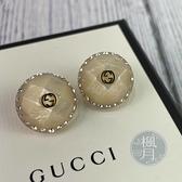 BRAND楓月 GUCCI 古馳 石紋珠光 水鑽 圓形 立體 耳針 耳環 耳飾 配件 飾品 經典 金色GG