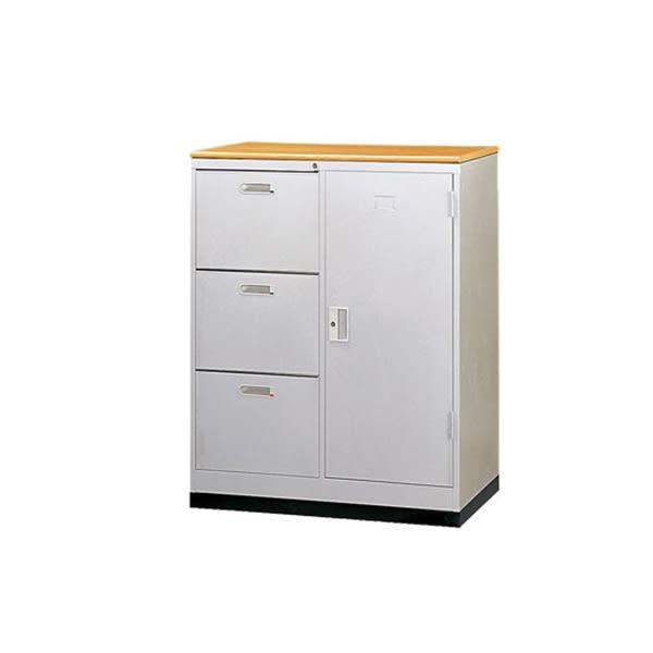 【YUDA】JSA90W3S1D 三抽一門三尺卷宗櫃/鐵櫃(含腳座.木紋面板) 文件櫃/展示櫃/公文櫃