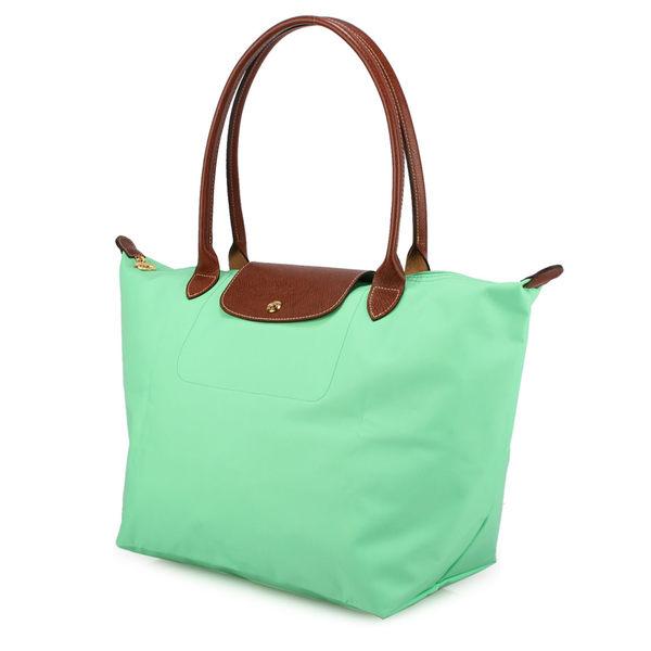 LONGCHAMP經典長提把中型尼龍摺疊水餃包(粉綠色)480132-64