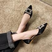 女鞋春季新款包頭涼鞋女平底防滑韓版百搭尖頭淺口網紅女單鞋 全館免運