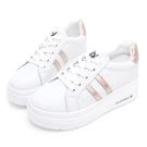 PLAYBOY 閃耀絢彩 輕量厚底小白鞋-白玫瑰金(Y7305)