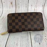 BRAND楓月 LOUIS VUITTON LV N60015 經典 棋盤格 拉鍊 長夾 錢包 錢夾 發財夾