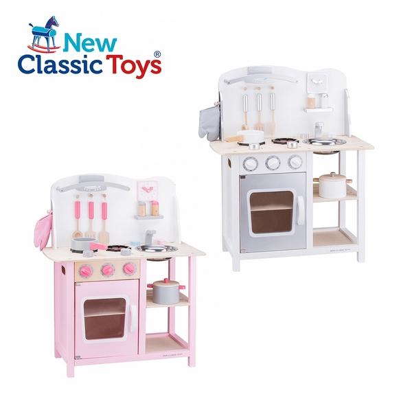 New Classic Toys 荷蘭木製廚房玩具 甜心/優雅小主廚系列 甜心粉/冰雪白 (含配件9件)