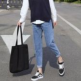 哈倫牛仔褲女年秋季新款高腰顯瘦九分直筒寬鬆小腳老爹蘿卜褲 雙十二全館免運