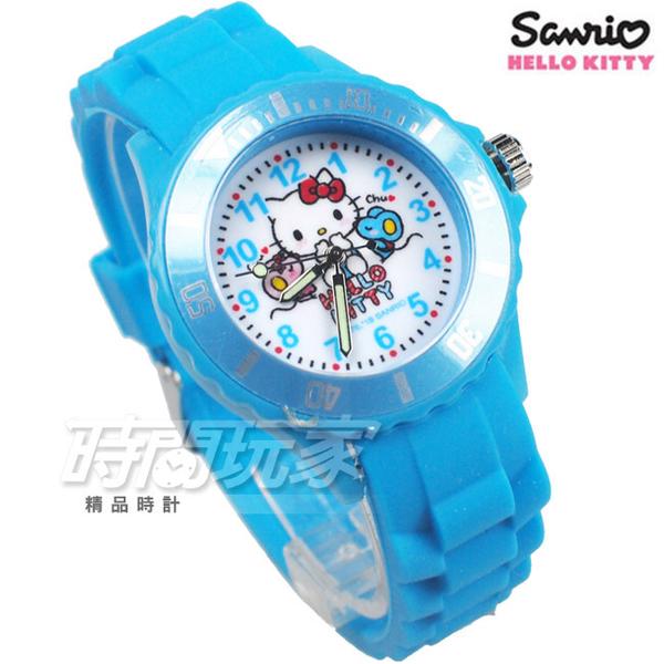 SANRIO三麗鷗 HELLO KITTY凱蒂貓系列 日本機芯 愛鼠你 童趣卡通女錶 兒童錶 天藍色 S7-1010K