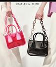【2wenty6ix】新加坡正品 CHARLES&KEITH 時尚別緻霧透面飾鍊條手提包