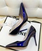細跟高跟鞋尖頭黑色工作單鞋女漆皮藍色大碼鞋紅色婚鞋  全館免運