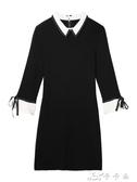 黑色連體裙女裝春裝針織內搭打底裙中長款赫本風小黑裙春 卡卡西